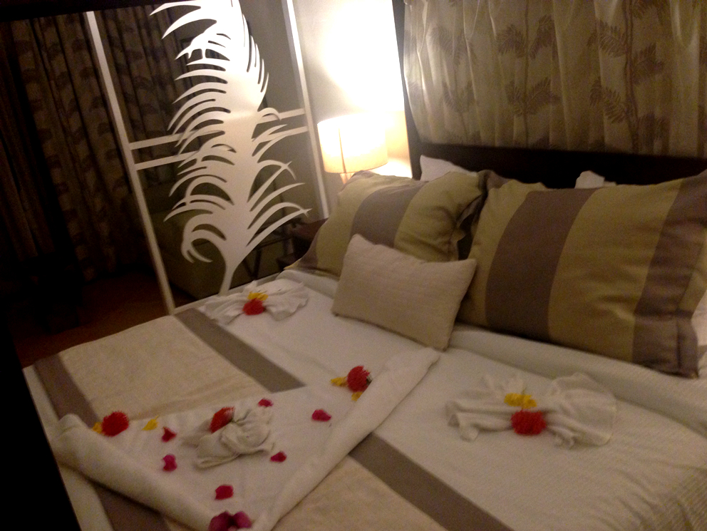 My rose petal-covered bed at Coconut Bay