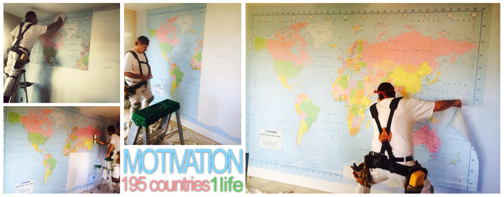 The huge map mounted in my dining room...a constant motivation to travel more!