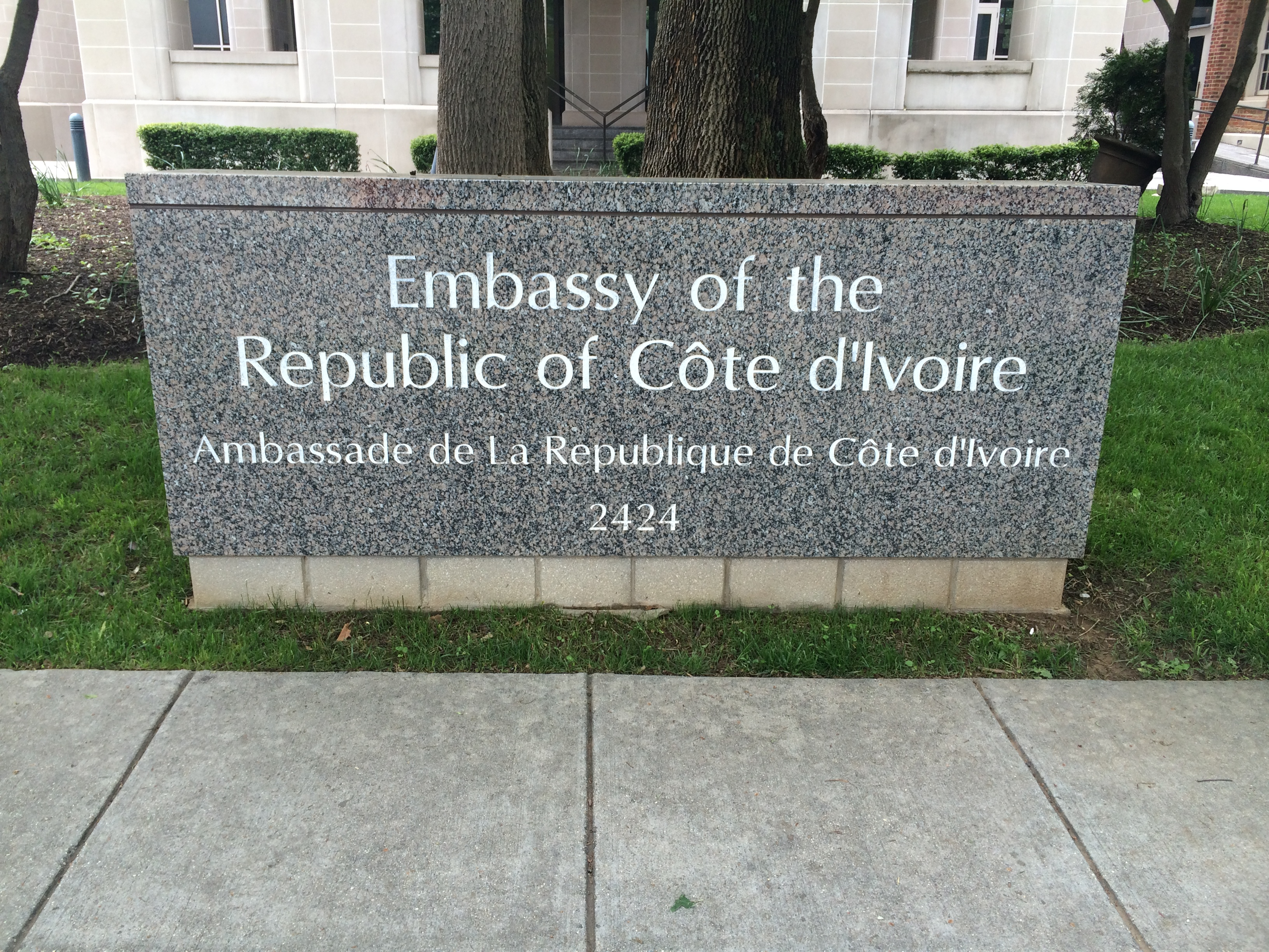 Embassy of The Ivory Coast...how exciting--I'm going in December!